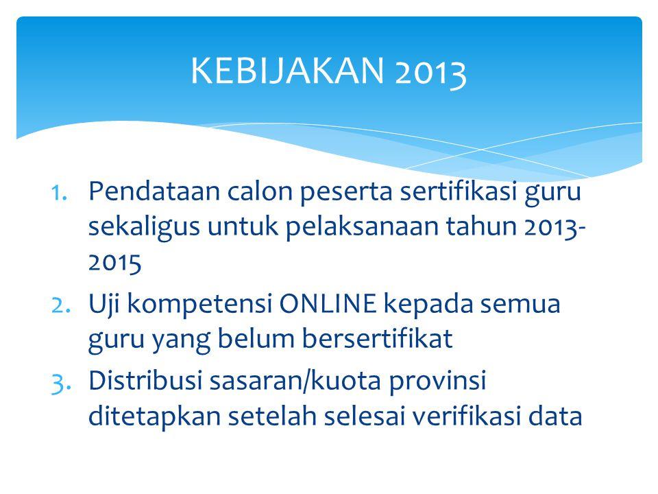 1.Pendataan calon peserta sertifikasi guru sekaligus untuk pelaksanaan tahun 2013- 2015 2.Uji kompetensi ONLINE kepada semua guru yang belum bersertif