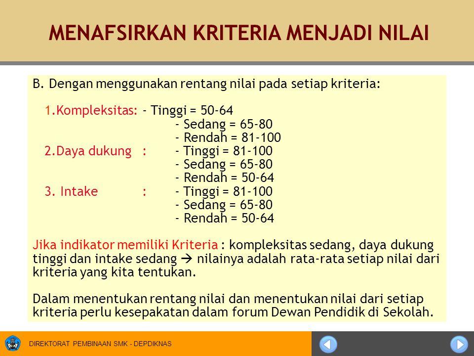 DIREKTORAT PEMBINAAN SMK - DEPDIKNAS B. Dengan menggunakan rentang nilai pada setiap kriteria: 1.Kompleksitas:- Tinggi = 50-64 - Sedang = 65-80 - Rend