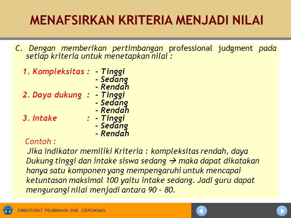 DIREKTORAT PEMBINAAN SMK - DEPDIKNAS C. Dengan memberikan pertimbangan professional judgment pada setiap kriteria untuk menetapkan nilai : 1. Kompleks