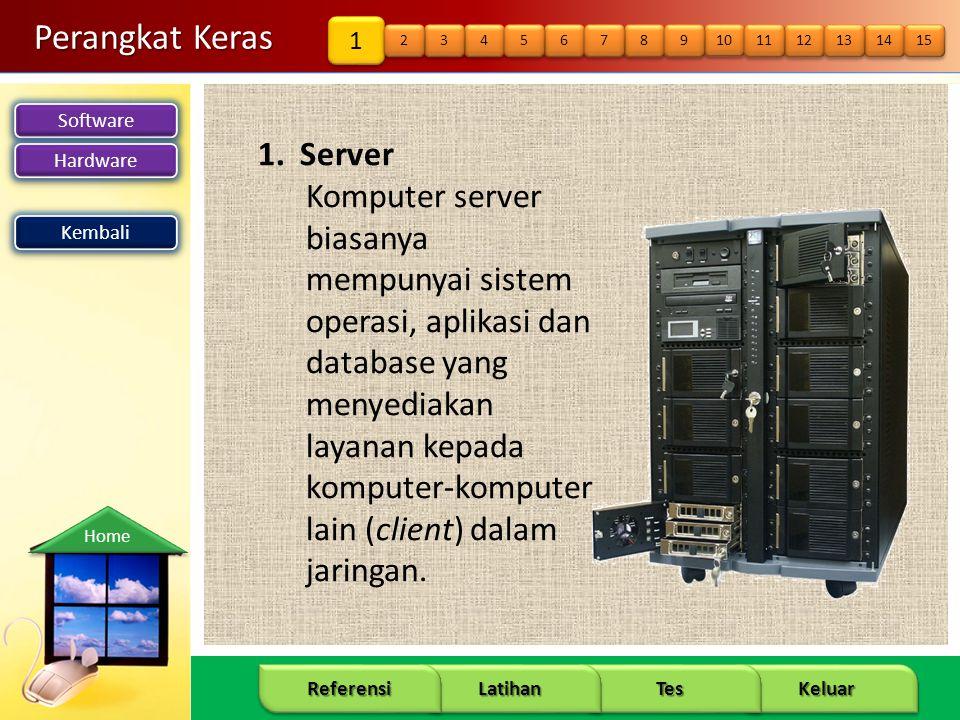 Software Hardware 10 Keluar Tes Latihan Referensi Home Perangkat Keras 1. Server Komputer server biasanya mempunyai sistem operasi, aplikasi dan datab