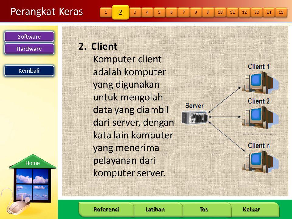 Software Hardware 11 Keluar Tes Latihan Referensi Home Perangkat Keras 2. Client Komputer client adalah komputer yang digunakan untuk mengolah data ya