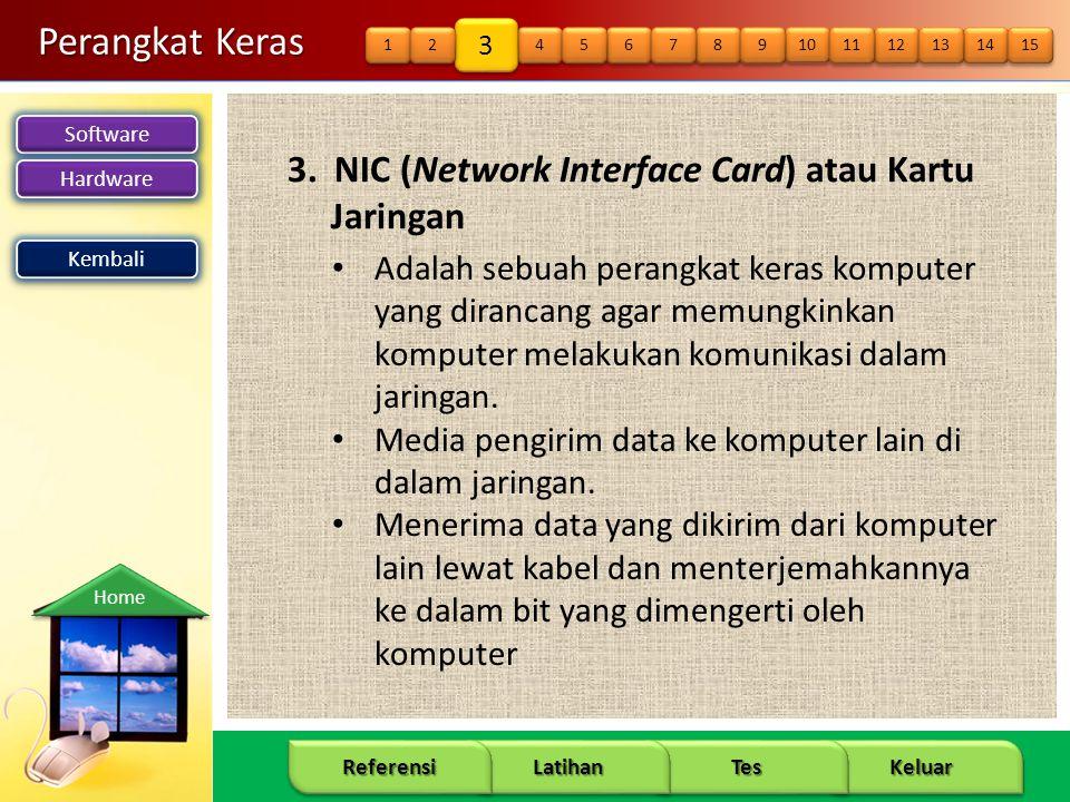 Software Hardware 12 Keluar Tes Latihan Referensi Home Perangkat Keras 3. NIC (Network Interface Card) atau Kartu Jaringan Kembali • Adalah sebuah per