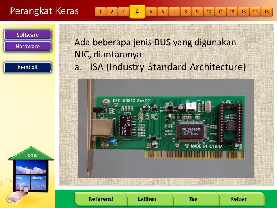 Software Hardware 13 Keluar Tes Latihan Referensi Home Perangkat Keras Ada beberapa jenis BUS yang digunakan NIC, diantaranya: a.ISA (Industry Standar