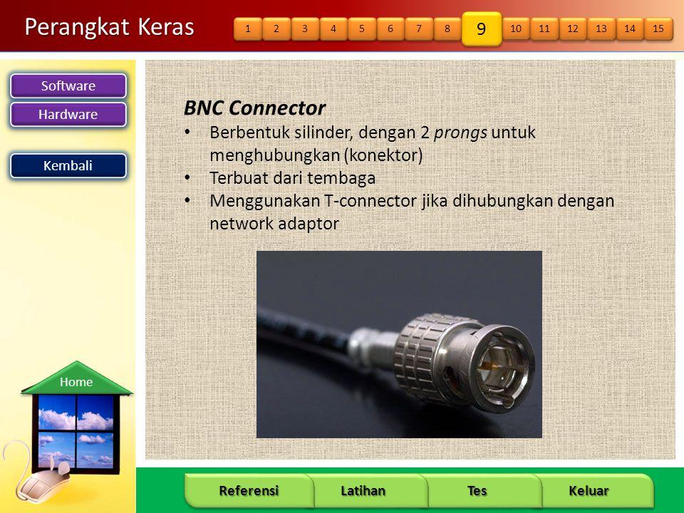 Software Hardware 18 Keluar Tes Latihan Referensi Home Perangkat Keras BNC Connector • Berbentuk silinder, dengan 2 prongs untuk menghubungkan (konektor) • Terbuat dari tembaga • Menggunakan T-connector jika dihubungkan dengan network adaptor Kembali 14 15 12 13 10 11 8 8 9 9 6 6 7 7 4 4 5 5 3 3 1 1 2 2