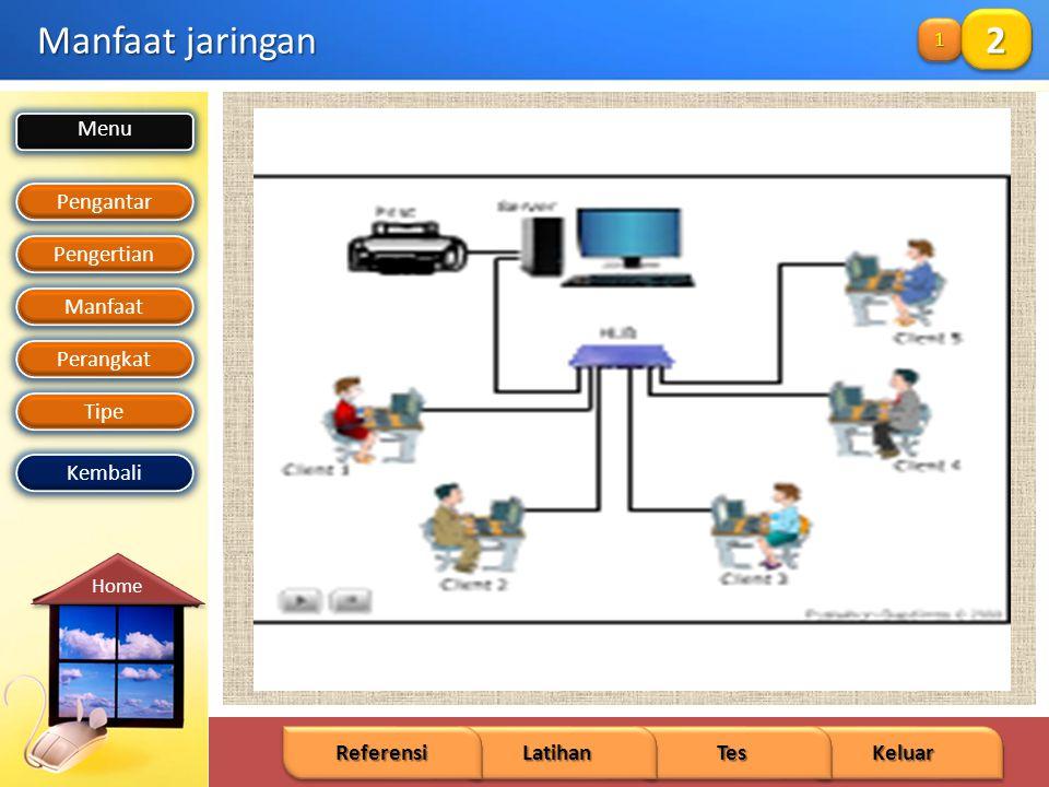 Menu Pengantar Pengertian Manfaat Perangkat Tipe Keluar Tes Latihan Referensi Home Kembali Manfaat jaringan 1111 111122