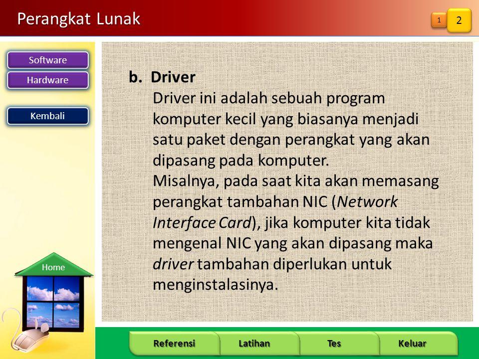 Software Hardware 9 Keluar Tes Latihan Referensi Home Perangkat Lunak b. Driver Driver ini adalah sebuah program komputer kecil yang biasanya menjadi