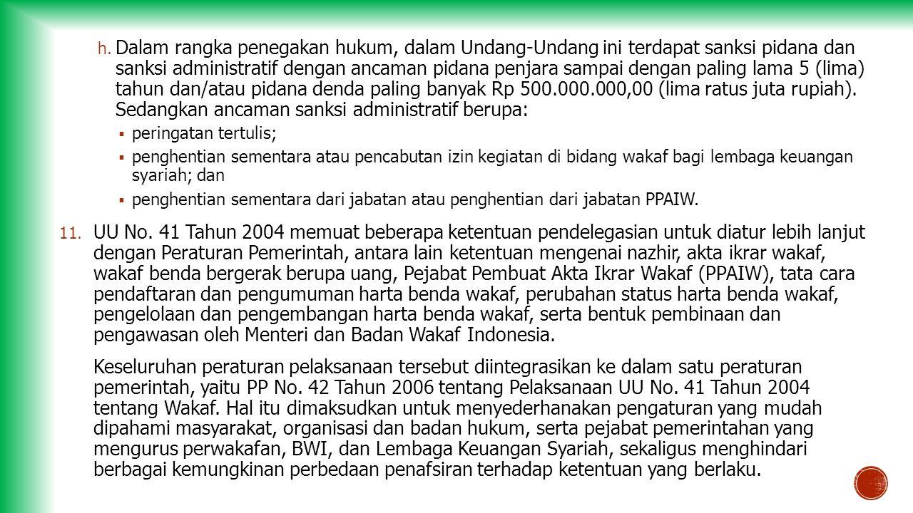 h. Dalam rangka penegakan hukum, dalam Undang-Undang ini terdapat sanksi pidana dan sanksi administratif dengan ancaman pidana penjara sampai dengan p