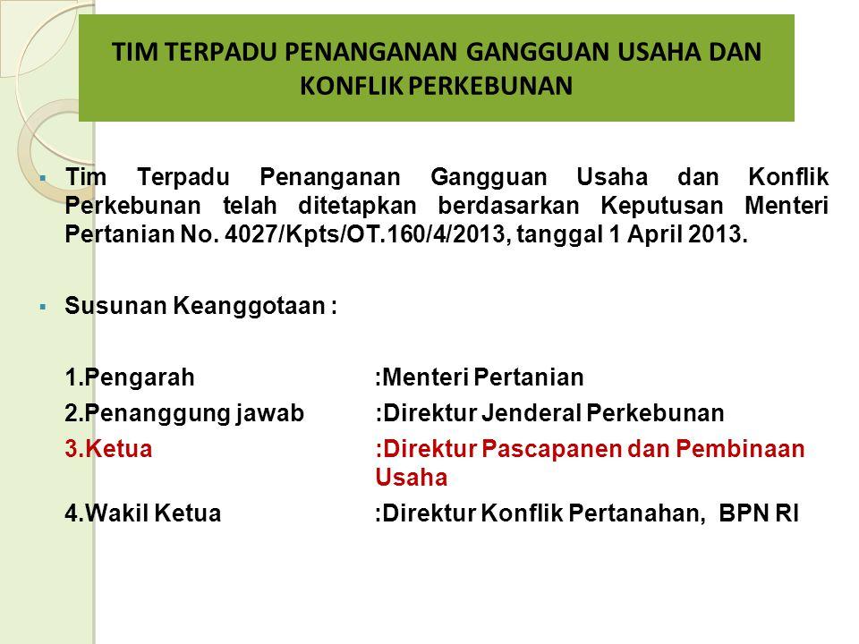  Tim Terpadu Penanganan Gangguan Usaha dan Konflik Perkebunan telah ditetapkan berdasarkan Keputusan Menteri Pertanian No.