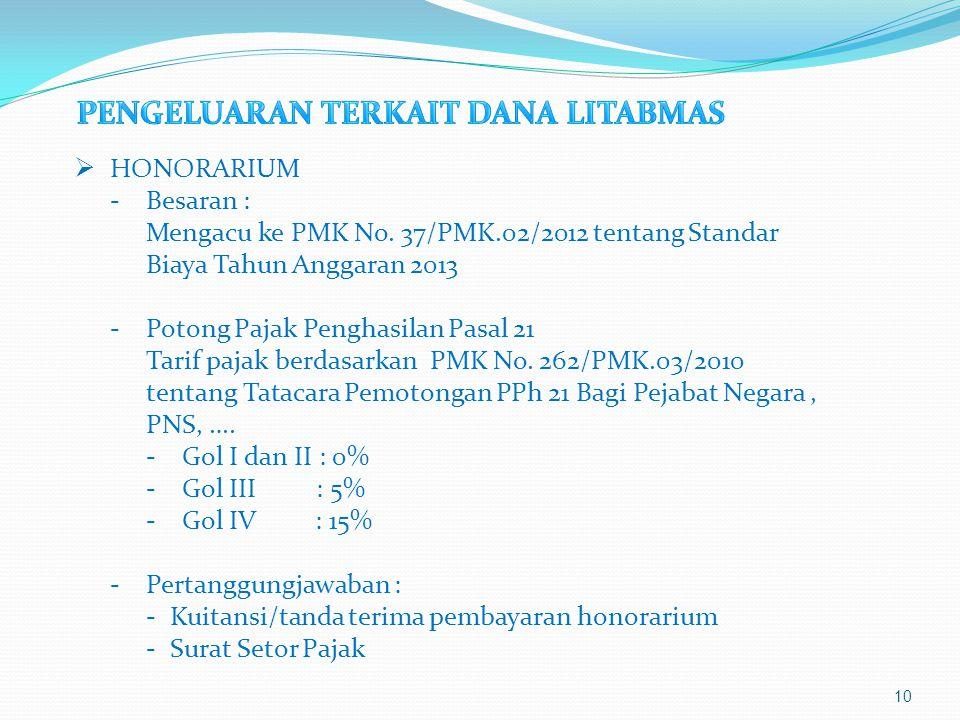 10  HONORARIUM -Besaran : Mengacu ke PMK No. 37/PMK.02/2012 tentang Standar Biaya Tahun Anggaran 2013 -Potong Pajak Penghasilan Pasal 21 Tarif pajak