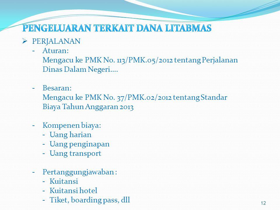 12  PERJALANAN -Aturan: Mengacu ke PMK No. 113/PMK.05/2012 tentang Perjalanan Dinas Dalam Negeri…. -Besaran: Mengacu ke PMK No. 37/PMK.02/2012 tentan