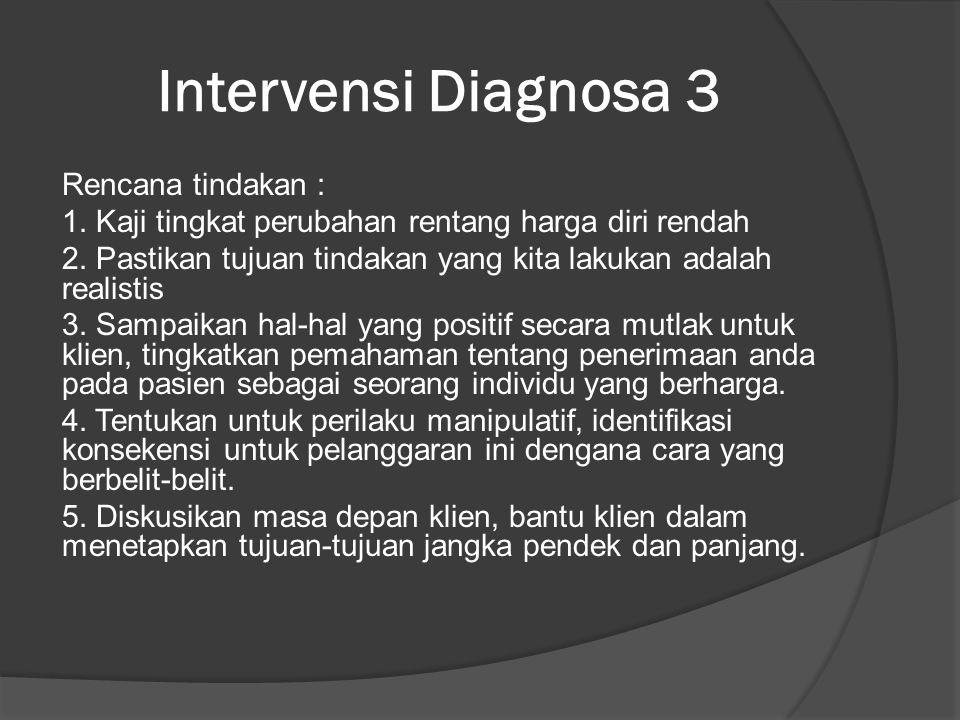 Intervensi Diagnosa 3 Rencana tindakan : 1.Kaji tingkat perubahan rentang harga diri rendah 2.