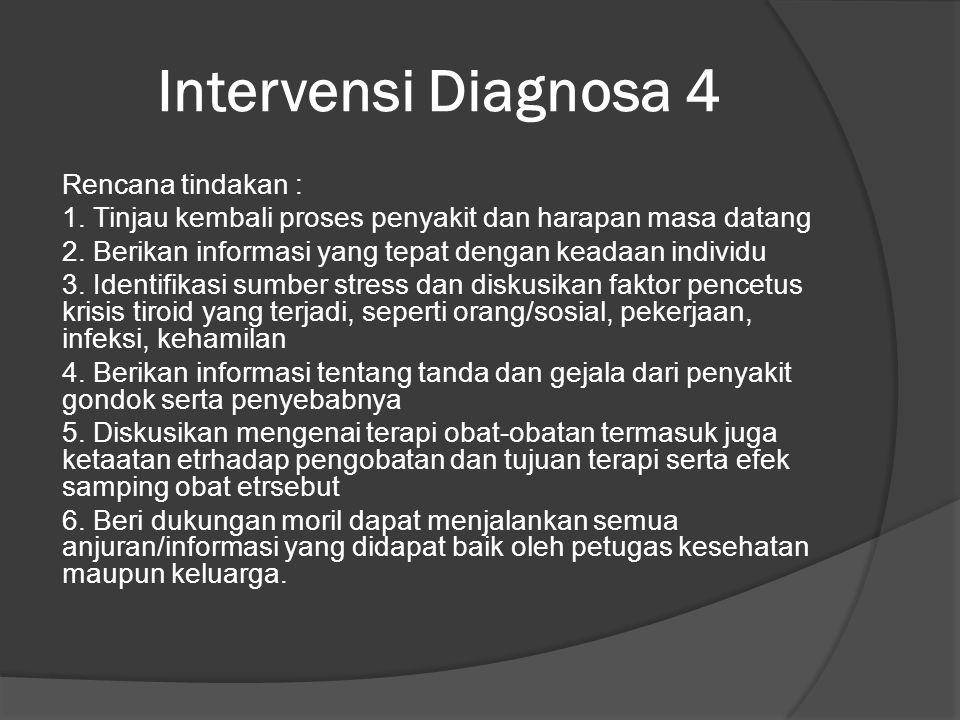 Intervensi Diagnosa 4 Rencana tindakan : 1.