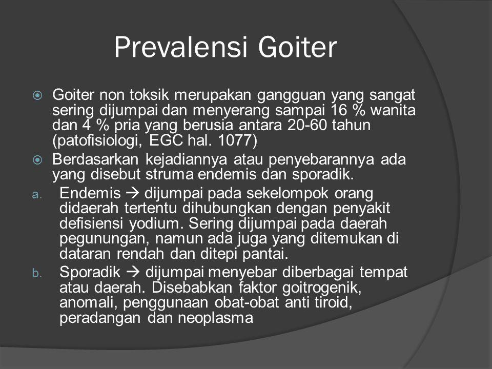 Prevalensi Goiter  Goiter non toksik merupakan gangguan yang sangat sering dijumpai dan menyerang sampai 16 % wanita dan 4 % pria yang berusia antara 20-60 tahun (patofisiologi, EGC hal.