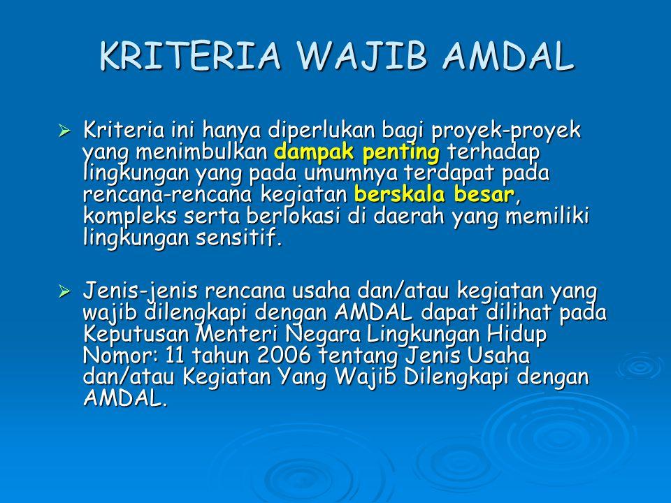 Penentuan Kegiatan Wajib AMDAL KEPMEN LH 17/2001 direvisi menjadi PERMEN 11/2006 RENCANA KEGIATAN MENYUSUN AMDAL Ya UKL-UPL (sesuai Kep- MENLH No.