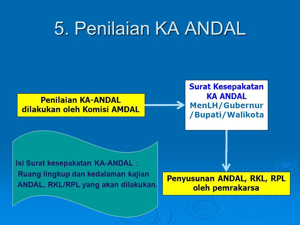 5. Penilaian KA ANDAL Penilaian KA-ANDAL dilakukan oleh Komisi AMDAL Surat Kesepakatan KA ANDAL MenLH/Gubernur /Bupati/Walikota Penyusunan ANDAL, RKL,
