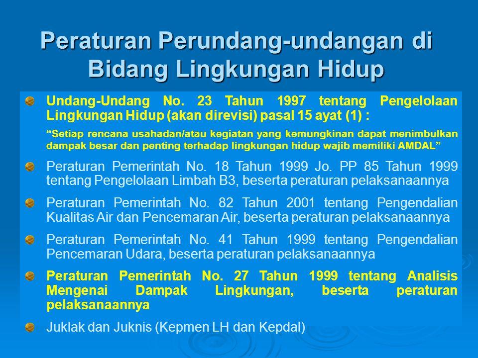 Penerapan Kebijakan Pengelolaan Lingkungan Hidup Indonesia pre-emptivepreventiveproactive Pengambilan keputusan & perencanaan PelaksanaanTingkat produksi •Tata Ruang •AMDAL, UKL/UPL •ISO 14000 •Audit Lingkungan Studi Kelayakan •Pengawasan Baku Mutu •Insentif & Disinsentif (Instrumen ekonomi) •Program PROPER •Perizinan PLB3
