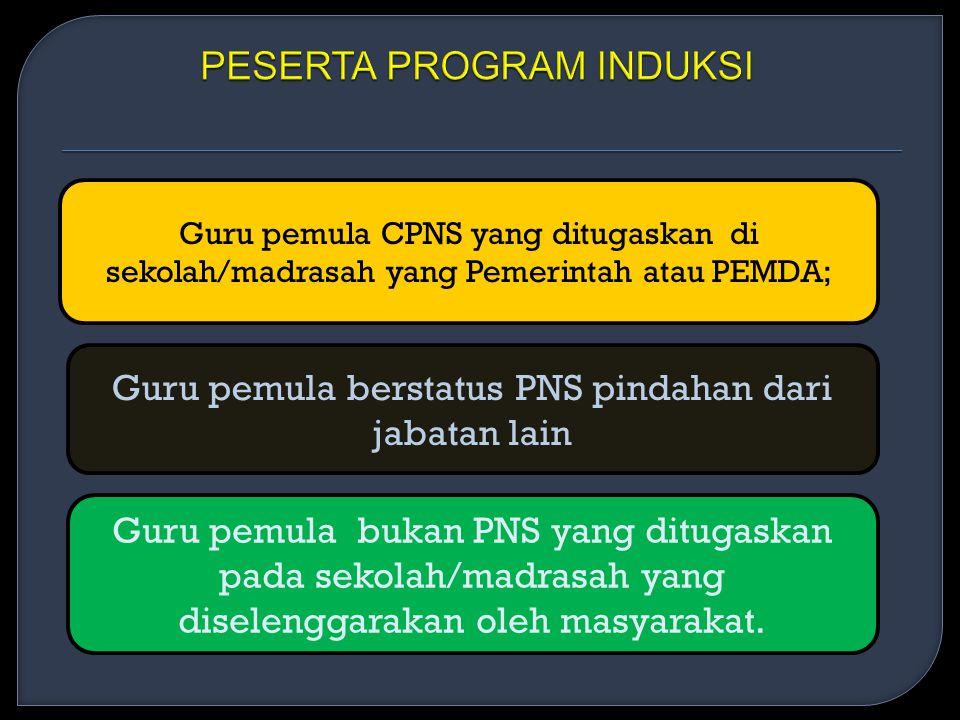 Guru pemula CPNS yang ditugaskan di sekolah/madrasah yang Pemerintah atau PEMDA; Guru pemula berstatus PNS pindahan dari jabatan lain Guru pemula bukan PNS yang ditugaskan pada sekolah/madrasah yang diselenggarakan oleh masyarakat.