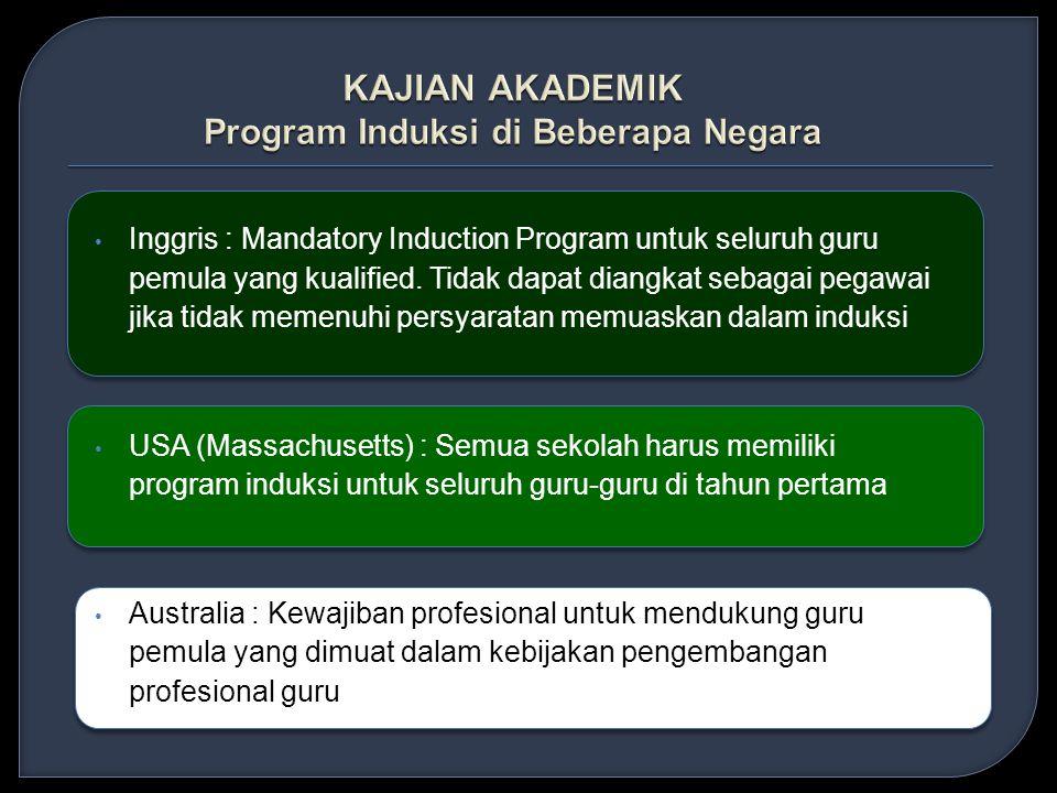 • Inggris : Mandatory Induction Program untuk seluruh guru pemula yang kualified.