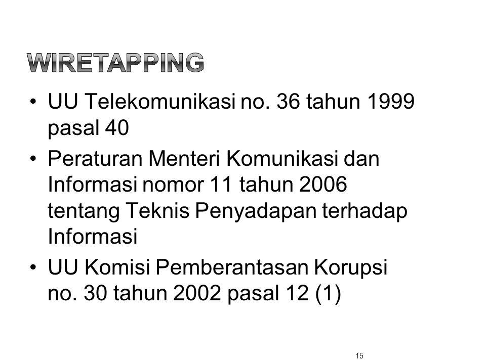 •UU Telekomunikasi no. 36 tahun 1999 pasal 40 •Peraturan Menteri Komunikasi dan Informasi nomor 11 tahun 2006 tentang Teknis Penyadapan terhadap Infor
