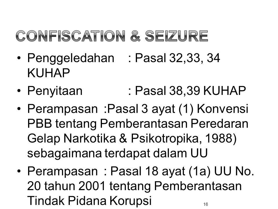 •Penggeledahan: Pasal 32,33, 34 KUHAP •Penyitaan: Pasal 38,39 KUHAP •Perampasan :Pasal 3 ayat (1) Konvensi PBB tentang Pemberantasan Peredaran Gelap N