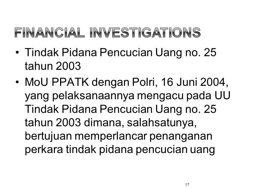 •Tindak Pidana Pencucian Uang no. 25 tahun 2003 •MoU PPATK dengan Polri, 16 Juni 2004, yang pelaksanaannya mengacu pada UU Tindak Pidana Pencucian Uan