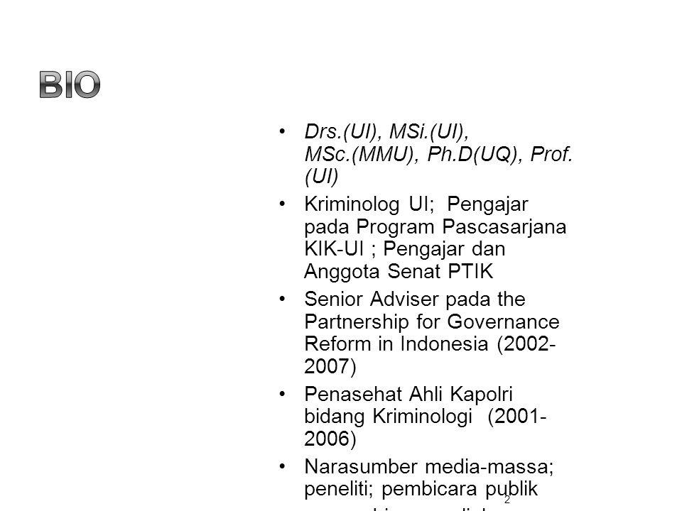 •Drs.(UI), MSi.(UI), MSc.(MMU), Ph.D(UQ), Prof. (UI) •Kriminolog UI; Pengajar pada Program Pascasarjana KIK-UI ; Pengajar dan Anggota Senat PTIK •Seni