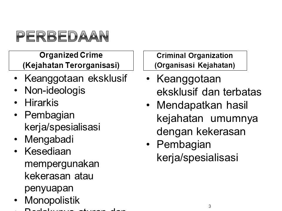 Organized Crime (Kejahatan Terorganisasi) Criminal Organization (Organisasi Kejahatan) •Keanggotaan eksklusif •Non-ideologis •Hirarkis •Pembagian kerj