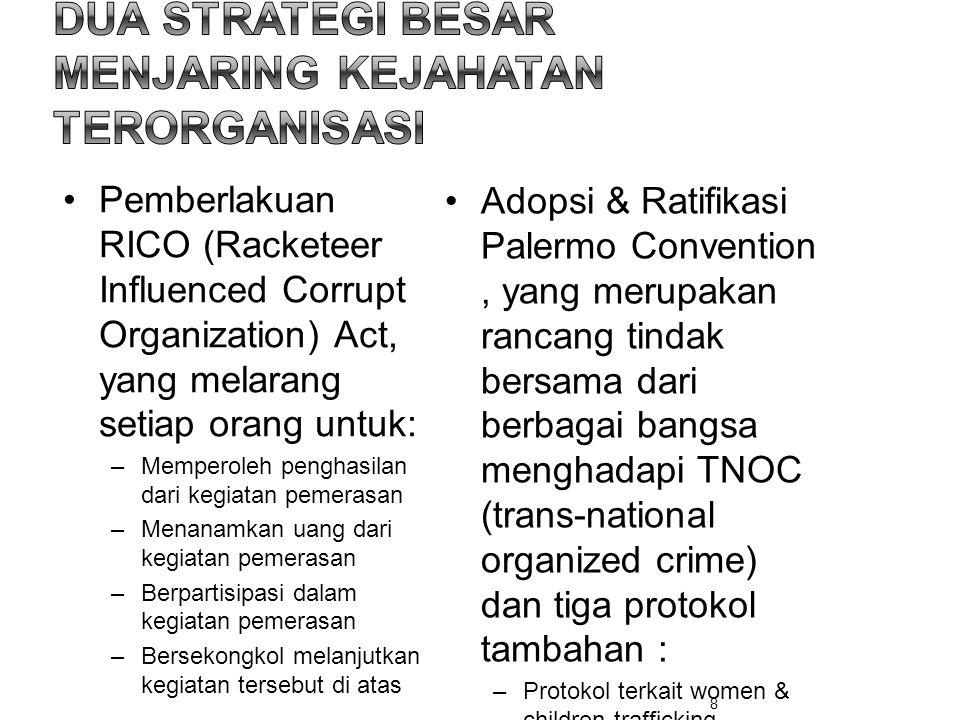 •Pemberlakuan RICO (Racketeer Influenced Corrupt Organization) Act, yang melarang setiap orang untuk: –Memperoleh penghasilan dari kegiatan pemerasan