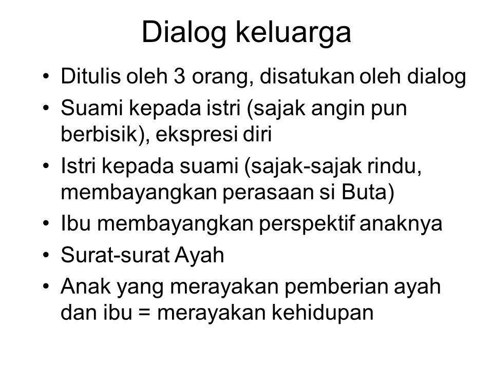Dialog keluarga •Ditulis oleh 3 orang, disatukan oleh dialog •Suami kepada istri (sajak angin pun berbisik), ekspresi diri •Istri kepada suami (sajak-