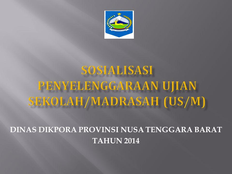  Gubernur menetapkan Penyelenggara US/M Tingkat Provinsi yang terdiri atas unsur- unsur :  Dinas Pendidikan Provinsi;  Kantor Wilayah Kementrian Departemen Agama (Kanwil Kemenag).