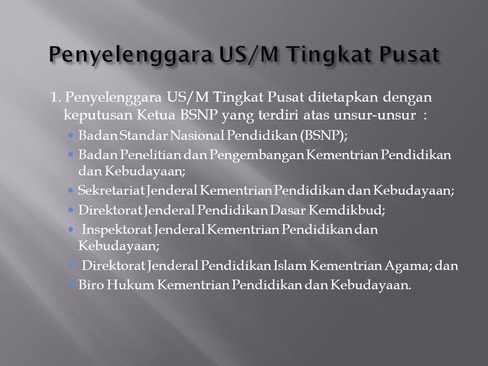 1. Penyelenggara US/M Tingkat Pusat ditetapkan dengan keputusan Ketua BSNP yang terdiri atas unsur-unsur :  Badan Standar Nasional Pendidikan (BSNP);