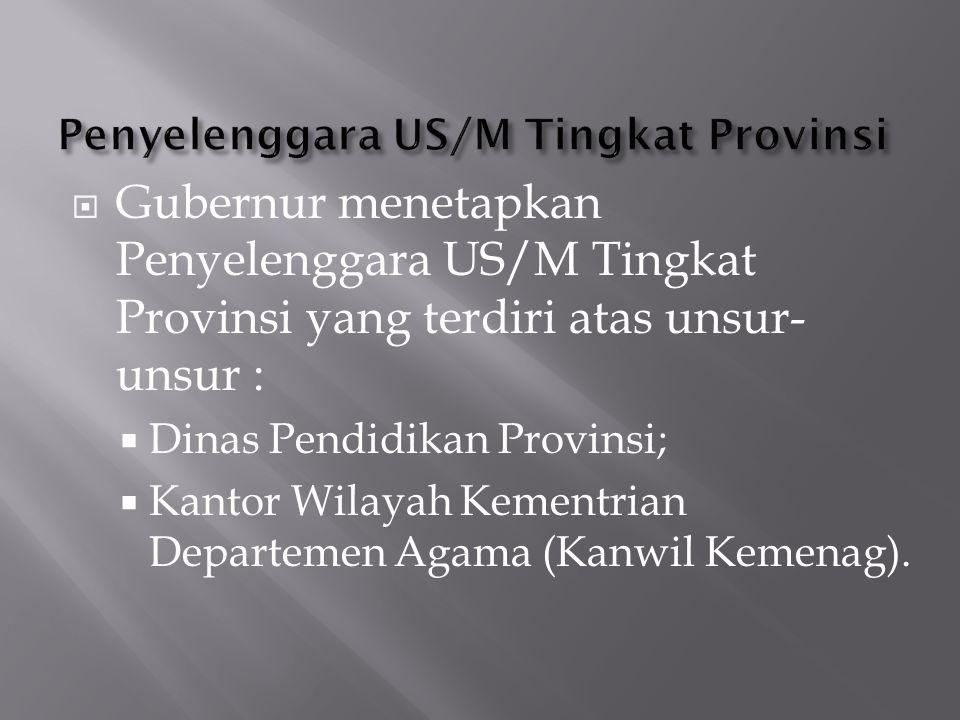  Gubernur menetapkan Penyelenggara US/M Tingkat Provinsi yang terdiri atas unsur- unsur :  Dinas Pendidikan Provinsi;  Kantor Wilayah Kementrian De