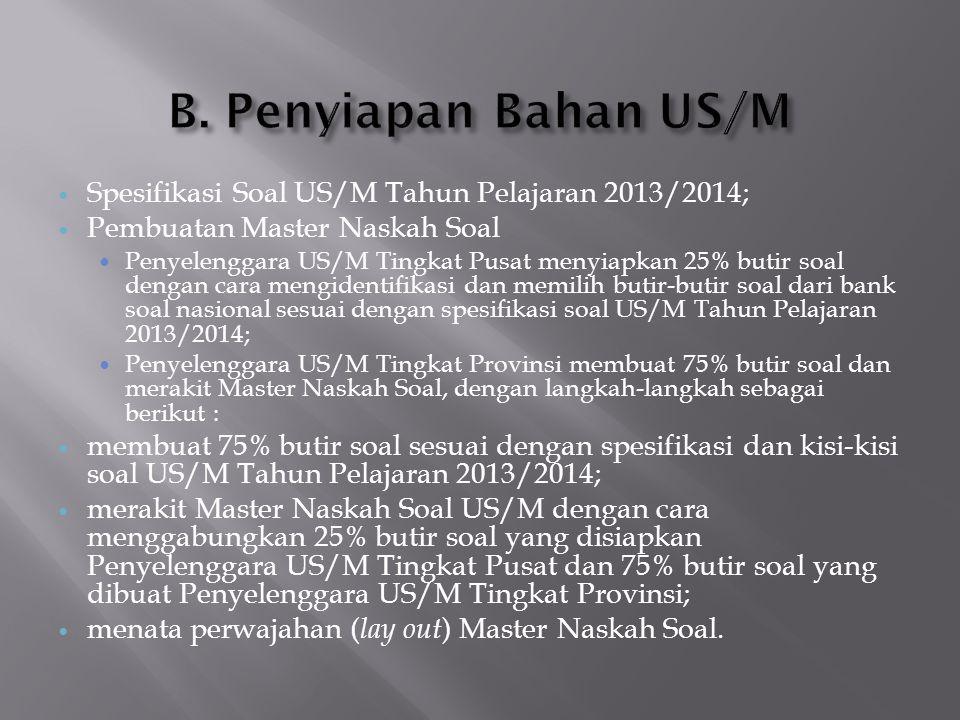  Spesifikasi Soal US/M Tahun Pelajaran 2013/2014;  Pembuatan Master Naskah Soal  Penyelenggara US/M Tingkat Pusat menyiapkan 25% butir soal dengan
