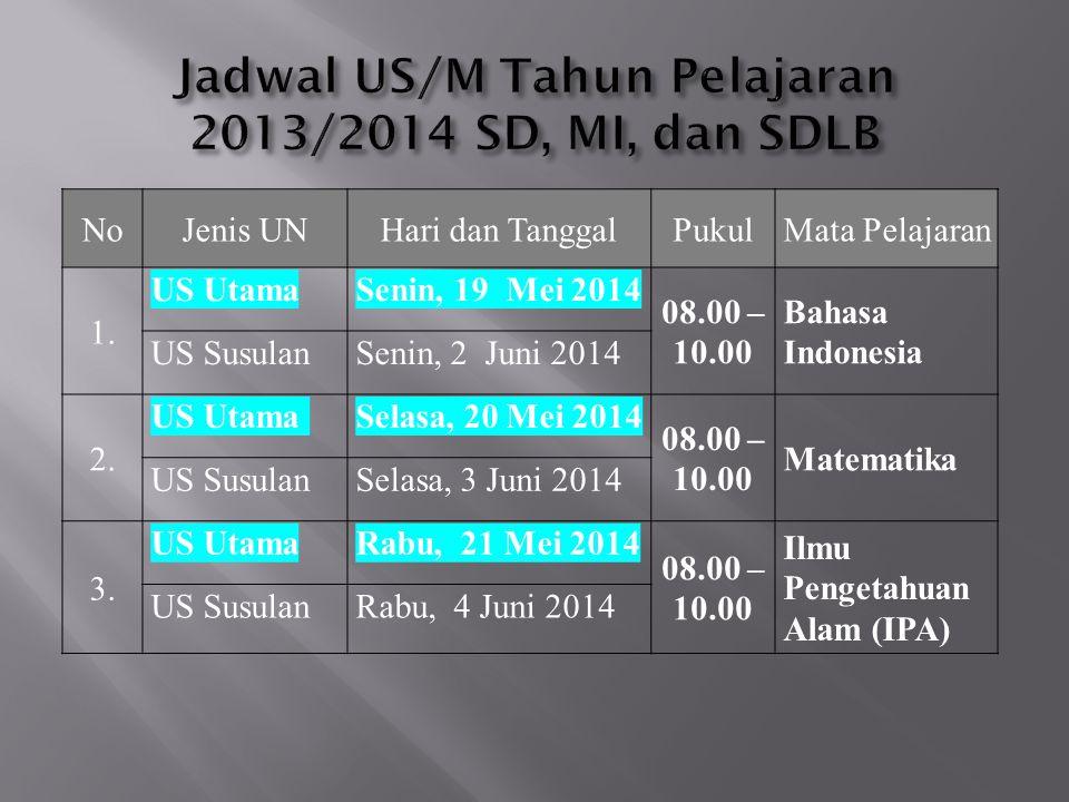 NoJenis UNHari dan TanggalPukulMata Pelajaran 1. US UtamaSenin, 19 Mei 2014 08.00 – 10.00 Bahasa Indonesia US SusulanSenin, 2 Juni 2014 2. US UtamaSel