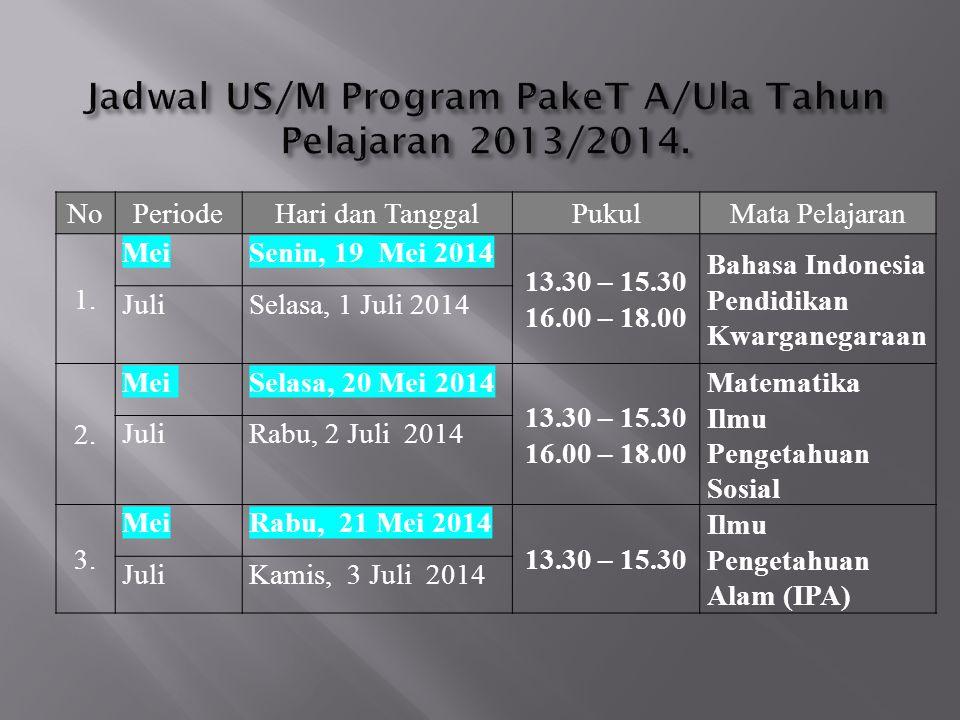 NoPeriodeHari dan TanggalPukulMata Pelajaran 1. MeiSenin, 19 Mei 2014 13.30 – 15.30 16.00 – 18.00 Bahasa Indonesia Pendidikan Kwarganegaraan JuliSelas