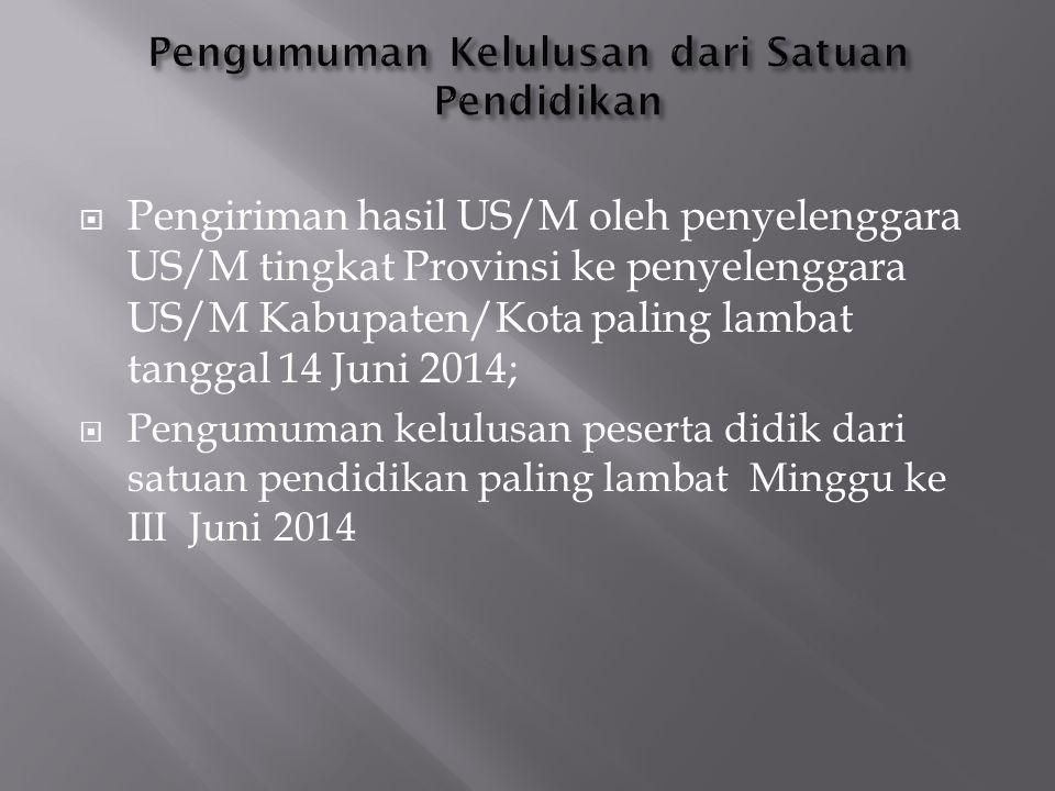  Pengiriman hasil US/M oleh penyelenggara US/M tingkat Provinsi ke penyelenggara US/M Kabupaten/Kota paling lambat tanggal 14 Juni 2014;  Pengumuman