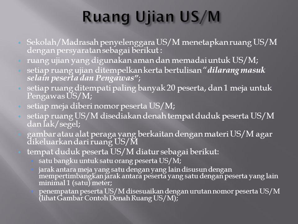  Sekolah/Madrasah penyelenggara US/M menetapkan ruang US/M dengan persyaratan sebagai berikut :  ruang ujian yang digunakan aman dan memadai untuk U