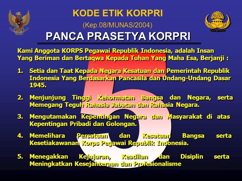 11 1. 1.Loyal kepada bangsa dan negara serta bersikap netral dalam melaksanakan tugas. 2. 2.Memberikan pelayanan prima kepada masyarakat. 3. 3.Mensuks
