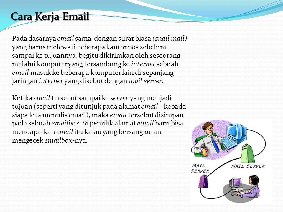 Cara Kerja Email Pada dasarnya email sama dengan surat biasa (snail mail) yang harus melewati beberapa kantor pos sebelum sampai ke tujuannya, begitu