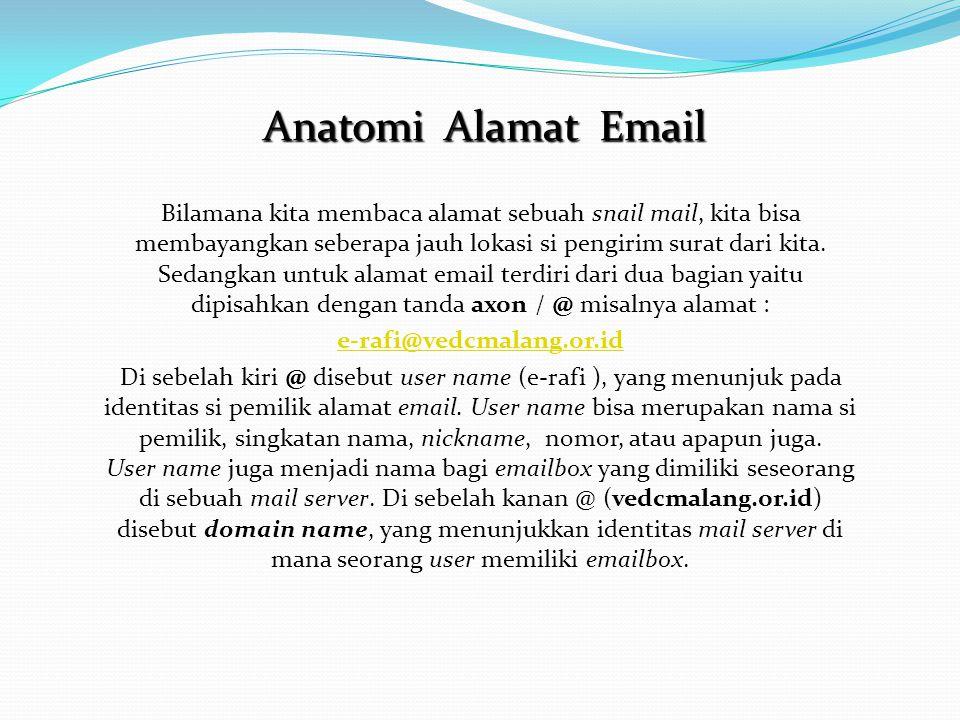 Bilamana kita membaca alamat sebuah snail mail, kita bisa membayangkan seberapa jauh lokasi si pengirim surat dari kita. Sedangkan untuk alamat email