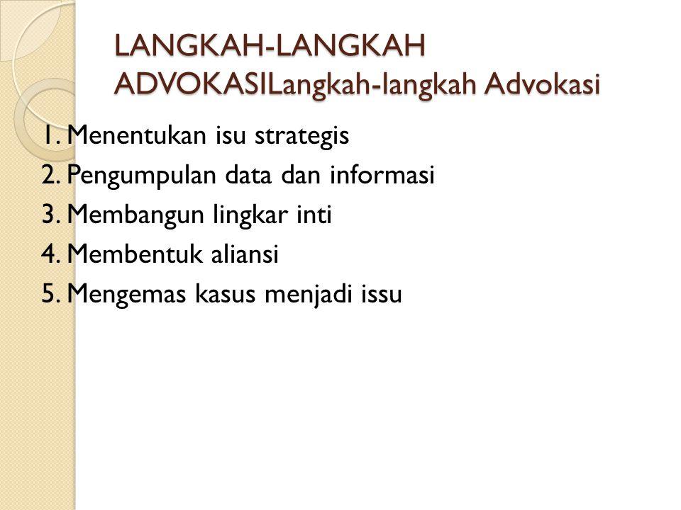 LANGKAH-LANGKAH ADVOKASILangkah-langkah Advokasi 1. Menentukan isu strategis 2. Pengumpulan data dan informasi 3. Membangun lingkar inti 4. Membentuk