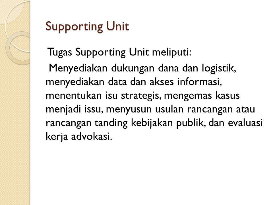 Supporting Unit Tugas Supporting Unit meliputi: Menyediakan dukungan dana dan logistik, menyediakan data dan akses informasi, menentukan isu strategis