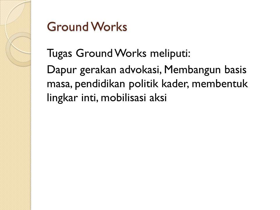 Ground Works Tugas Ground Works meliputi: Dapur gerakan advokasi, Membangun basis masa, pendidikan politik kader, membentuk lingkar inti, mobilisasi a