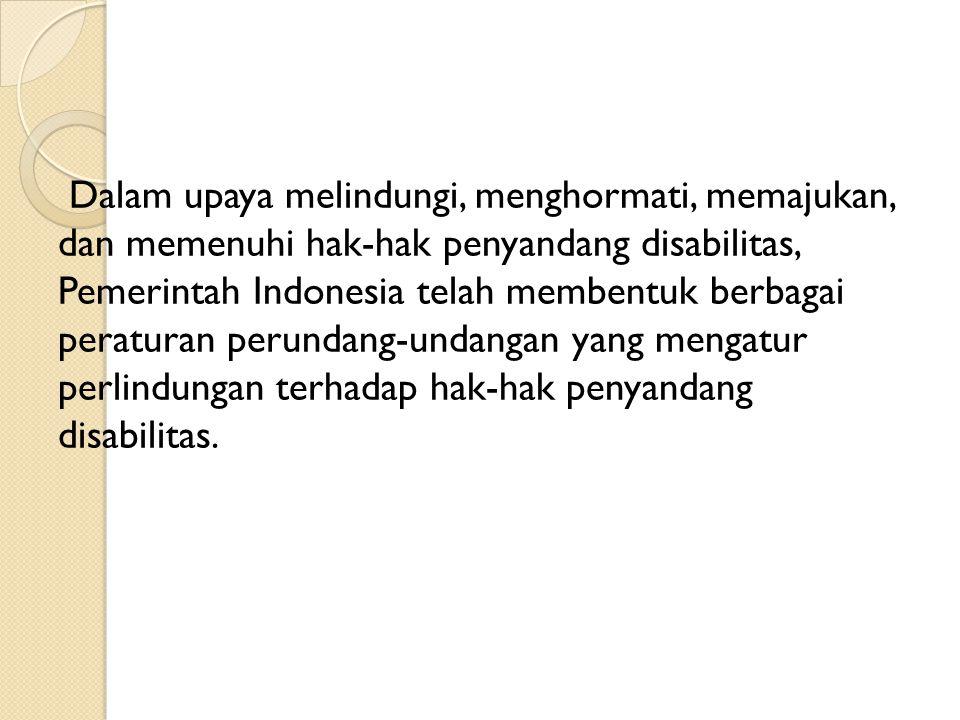 Dalam upaya melindungi, menghormati, memajukan, dan memenuhi hak-hak penyandang disabilitas, Pemerintah Indonesia telah membentuk berbagai peraturan p