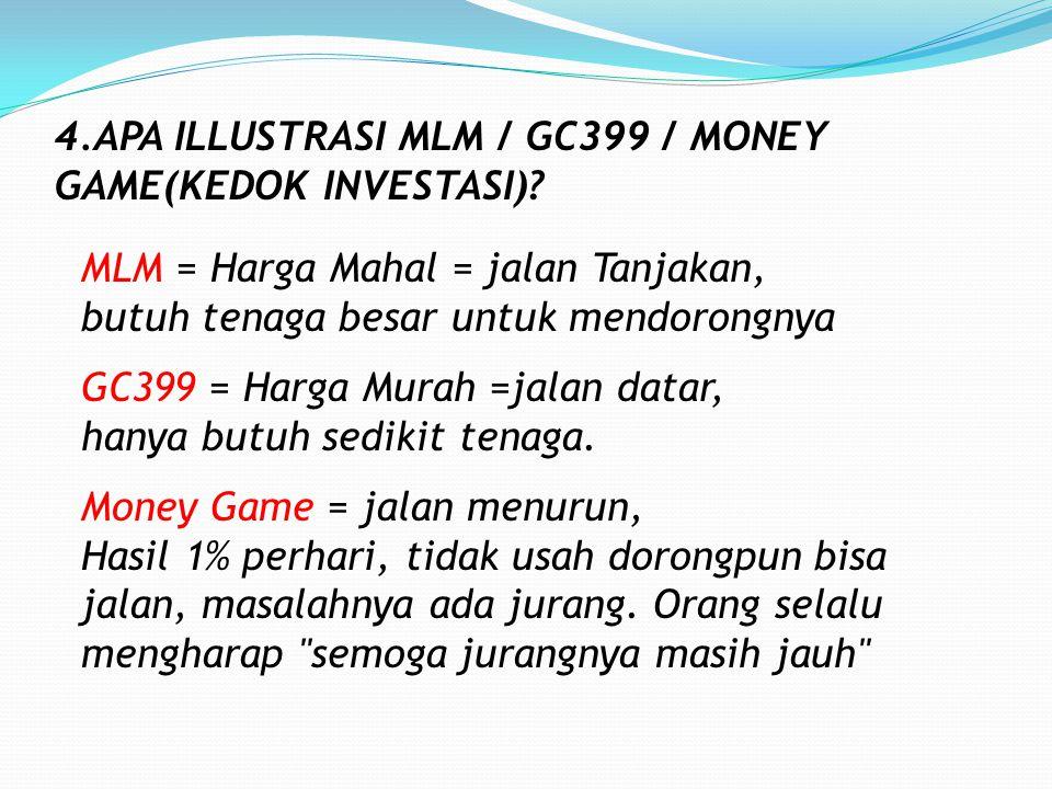 JAWAB PERTANYAAN 1.GC399 = MONEY GAME ? *Money Game dilarang karena bisa merugikan orang. Tanpa Iklan, biaya distributor, biaya Agen, dan toko, serta