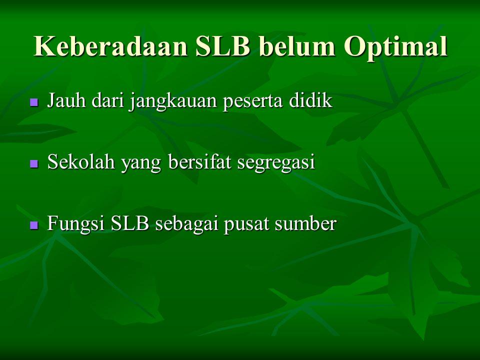 Keberadaan SLB belum Optimal  Jauh dari jangkauan peserta didik  Sekolah yang bersifat segregasi  Fungsi SLB sebagai pusat sumber
