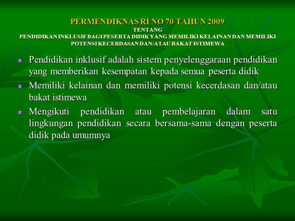 PERMENDIKNAS RI NO 70 TAHUN 2009 TENTANG PENDIDIKAN INKLUSIF BAGI PESERTA DIDIK YANG MEMILIKI KELAINAN DAN MEMILIKI POTENSI KECERDASAN DAN/ATAU BAKAT