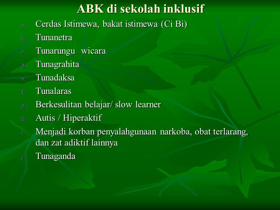 ABK di sekolah inklusif a. Cerdas Istimewa, bakat istimewa (Ci Bi) b. Tunanetra c. Tunarungu wicara d. Tunagrahita e. Tunadaksa f. Tunalaras g. Berkes