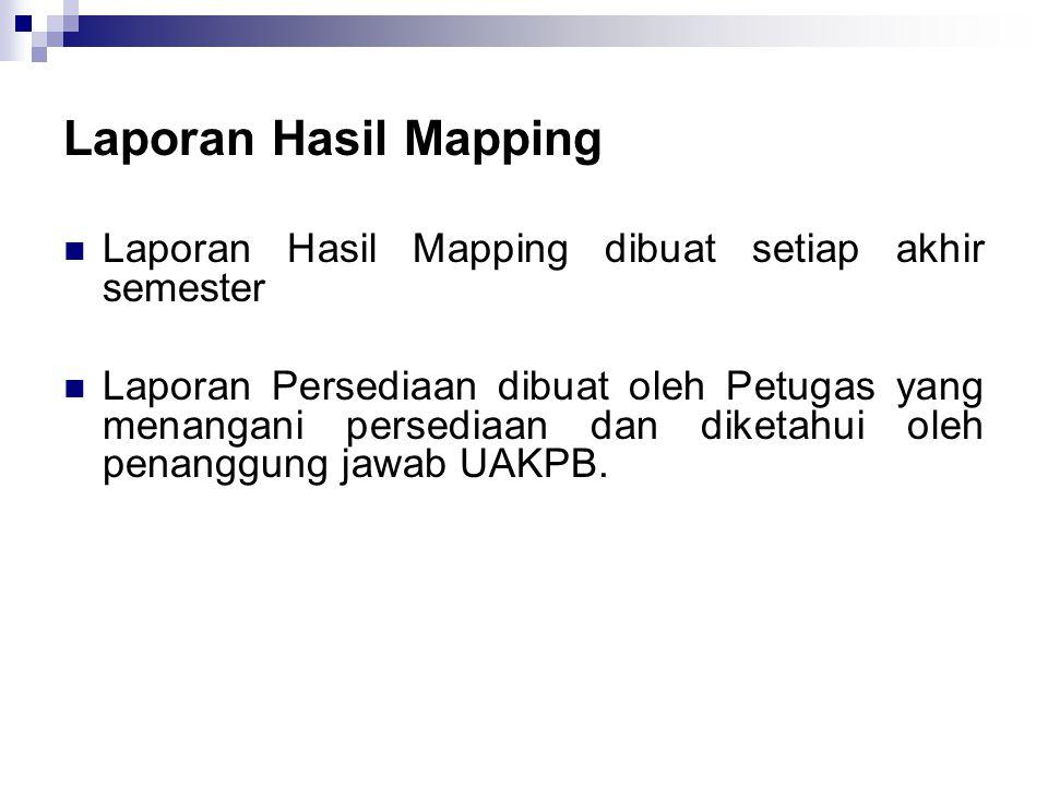 Laporan Hasil Mapping  Laporan Hasil Mapping dibuat setiap akhir semester  Laporan Persediaan dibuat oleh Petugas yang menangani persediaan dan diketahui oleh penanggung jawab UAKPB.