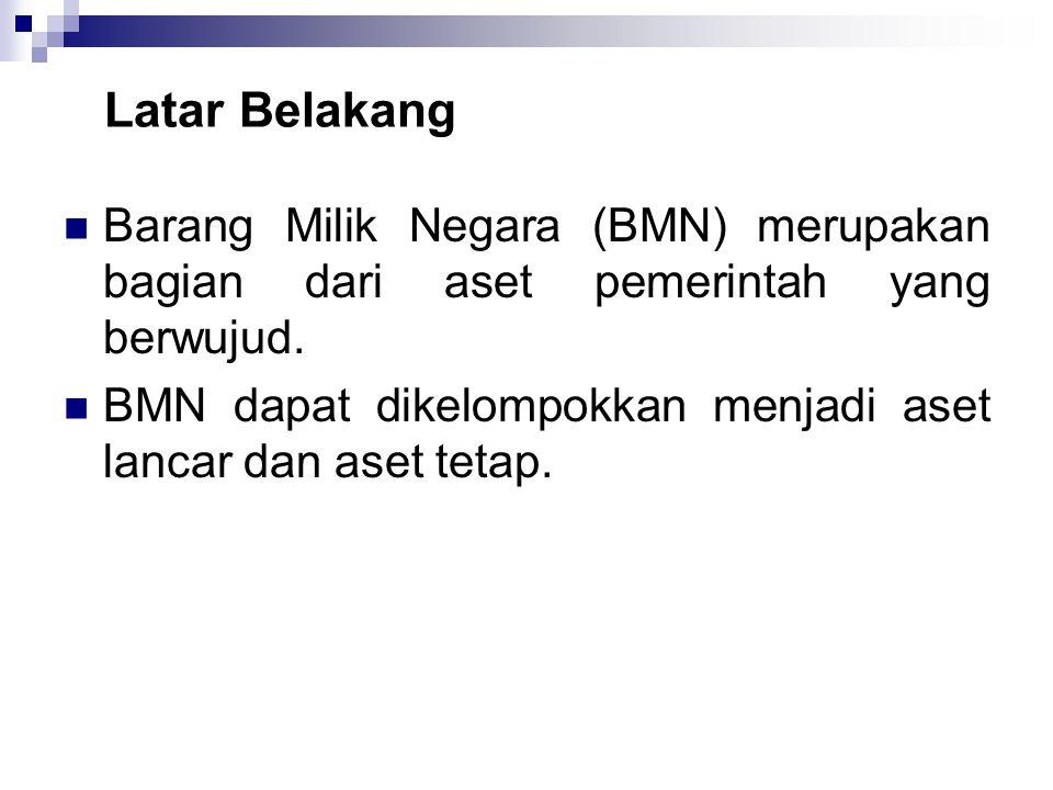 Latar Belakang  Barang Milik Negara (BMN) merupakan bagian dari aset pemerintah yang berwujud.